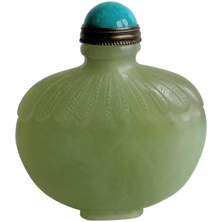 Fine Chinese Snuff Bottle Hand Carved Celadon Jade with spoon top, Circa 1920