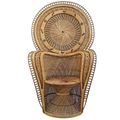 Iconic 1970s Emmanuelle Rattan Throne