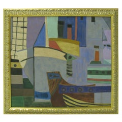 Cubist Forms of Boats in the Harbour Oil on Canvas