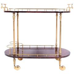 Aldo Tura Bar Cart Brass Maroon Parchment Paper, 1950, Italy