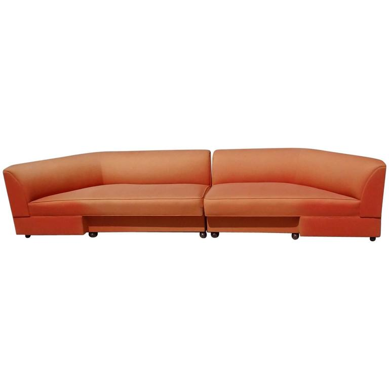 Large Mid-Century Two-Piece Sectional Couch For Sale