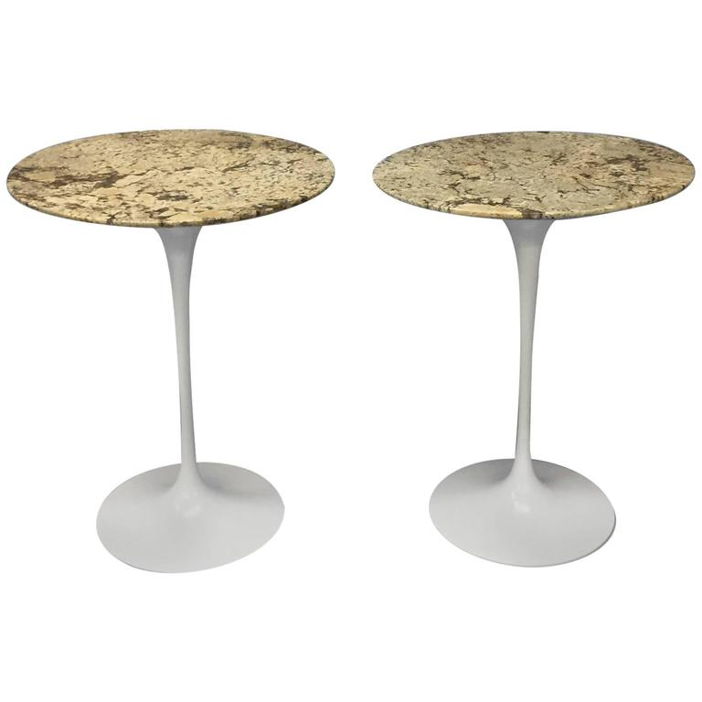 Pair Of Custom Stone Top Iron Base Saarinen Knoll Tulip Tables For - Custom tulip table