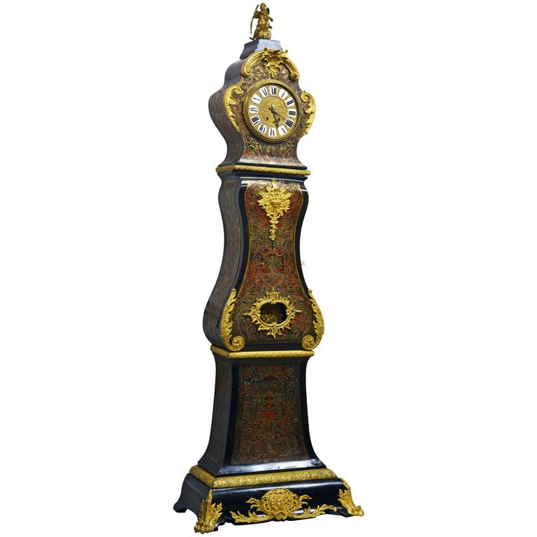 Fine 19th Century Napoleon III Boulle Marquetry Inlaid Bombe Long Case Clock For Sale