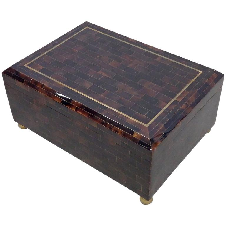 Karl Springer Style Tessellated Horn Box by Maitland Smith