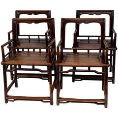 Set of Four Late Ming-Early Qing Chinese Rose-Back Chairs Meiguiyi