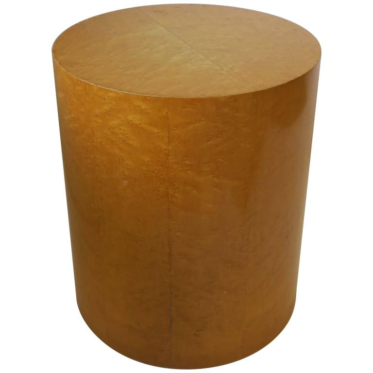 Vintage Modern Round Pedestal Drum Side Table After Milo Baughman 1