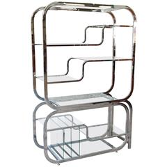 Milo Baughman Chrome and Glass Extendable Ètagerè for DIA