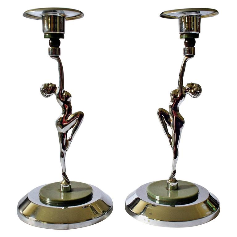 English Pair of Art Deco Chrome and Bakelite Female Candlesticks