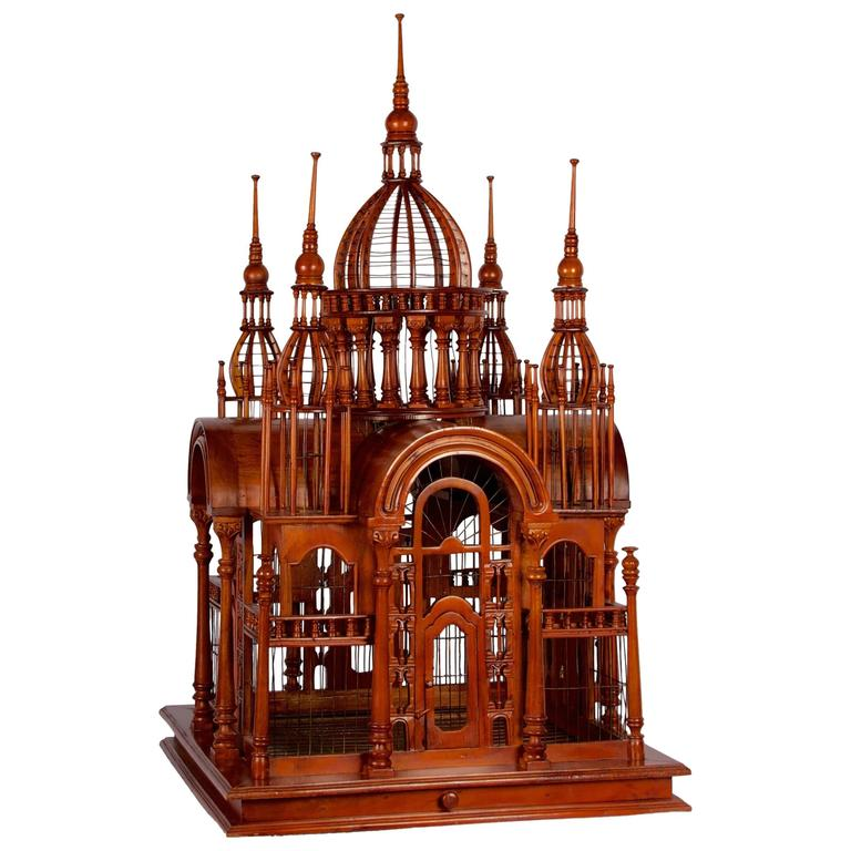 Victorian Style Architectural Mahogany Birdcage of Large-Scale For Sale