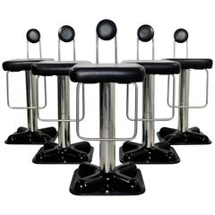 Mid-Century Modern Set of Five Birillo Bar Stools Joe Colombo for Zanotta