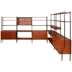 Six Section Teak Wall or Room Divider Unit by Lyby Mobler
