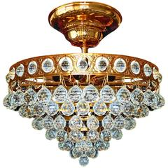 24-Karat Gold-Plated Crystal Wedding Cake Eight-Light Flush Mount Chandelier