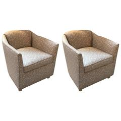 Pair of Mid-Century Tub Chairs in 1970s Angelo Donghia Fabric