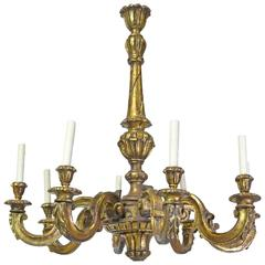 20th Century Baroque Style Chandelier in Carved Wood with Eight Lights
