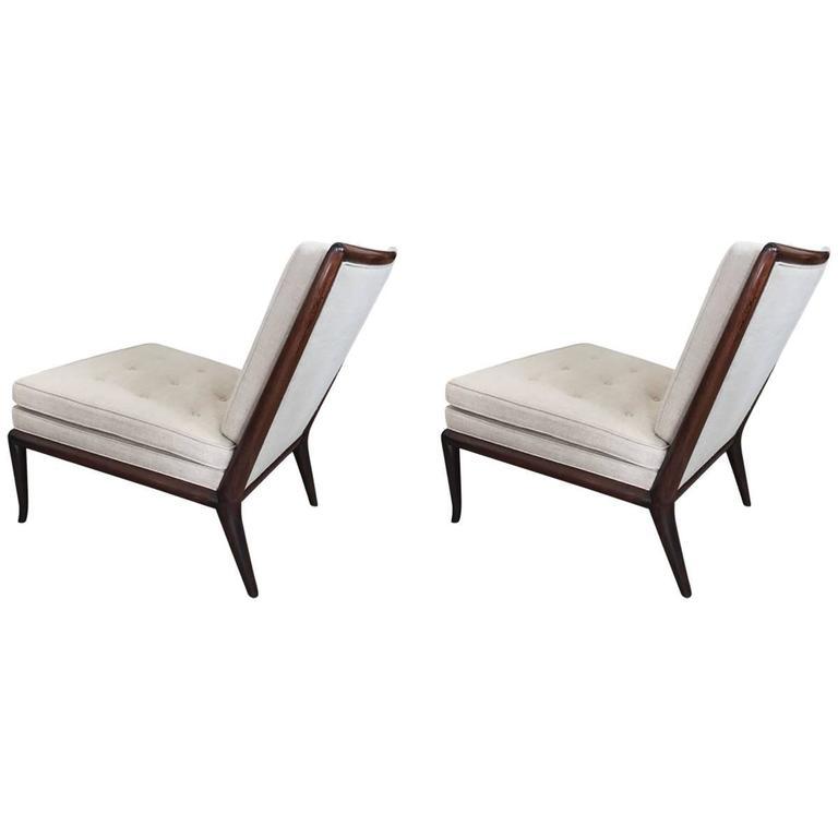 Pair of T.H. Robsjohn-Gibbings Slipper Chairs for Widdicomb 1