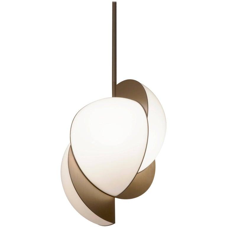 """Collision Lights"" Pendant Gold Galvanic with White Acrylic Lamp by Lara Bohinc"