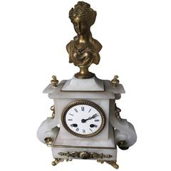 Victorian Alabaster French Clock, White Carved Alabaster Figure Clock