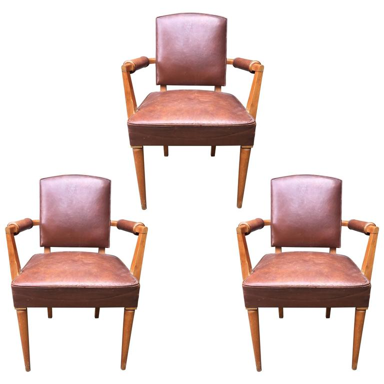 Set of Three Art Deco Armchairs in Beech and Original Leather, circa 1940