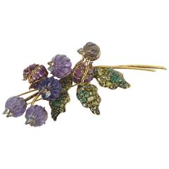 Brooch with Amethysts and Emeralds Designed and Manufactured by Iradj Moini