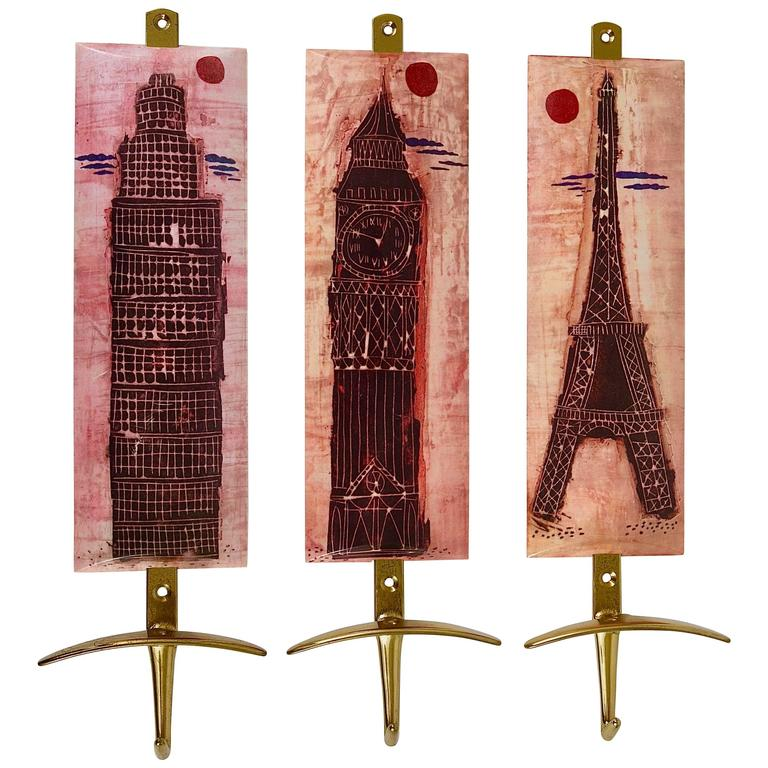 Set of Three Mid-Century Brass Coat Wall Hooks, Fornasetti Style, Italy, 1960s For Sale