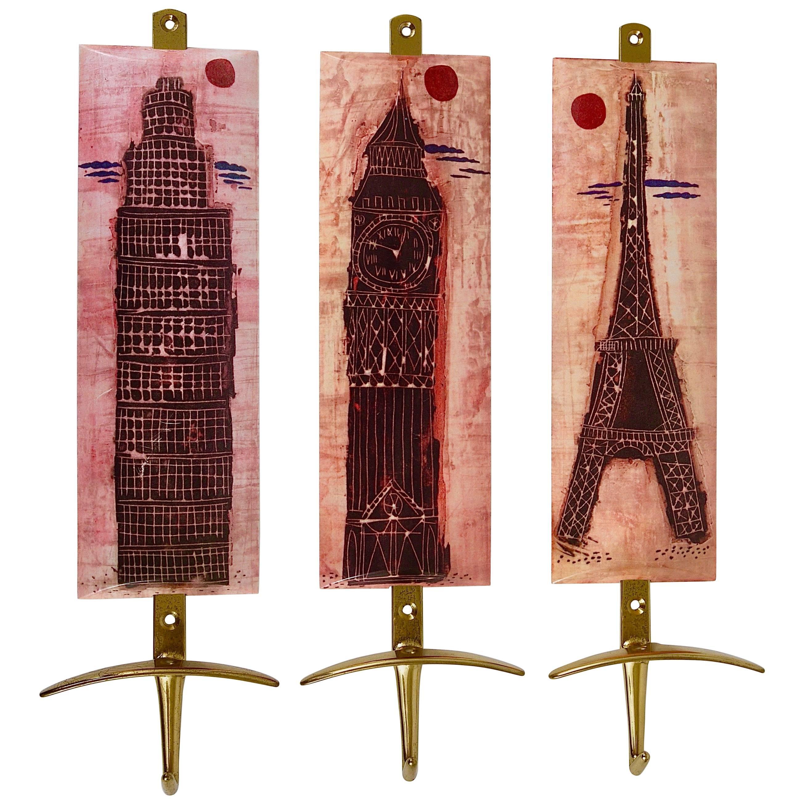 Set of Three Mid-Century Brass Coat Wall Hooks, Italy, 1960s