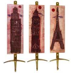 Set of Three Mid-Century Brass Coat Wall Hooks, Fornasetti Style, Italy, 1960s