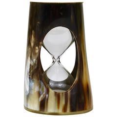 Mid-Century Carl Aubock Horn Hourglass, Sand Timer, Brass, Austria, 1950s