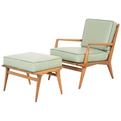 Mid-Century Modern Carlo di Carli Lounge Chair and Ottoman Newly Reupholstered