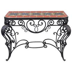 1920s Wrought Iron Console Table with Malibu California Tiles