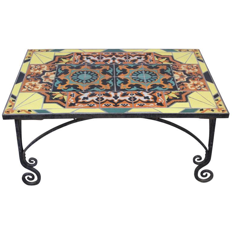 Broken Tile Coffee Table: Tudor And Yellow Catalina California Tile Mosaic Coffee