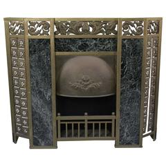 Early Brass and Marble 1900s Fireplace Surround