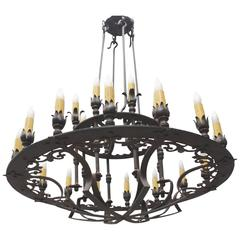 Custom Two-Tiered Wrought Iron Spanish Chandelier