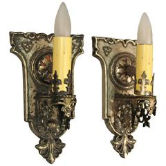 Pair of Single 1920s Sconces with Tudor Detailing
