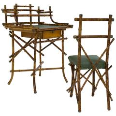 Elegant and Rare Art Nouveau Bamboo Children's Writing Table and Chair, 1900s