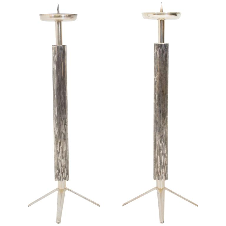 Fabulous Pair of French, Mid-Century Modern Candelabras or Candlesticks, 1970s For Sale