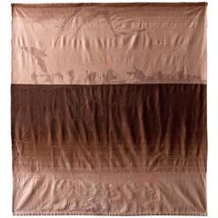 Cashmere Wool Hand Embroidered Horizon Throw 1 - Brown & Taupe