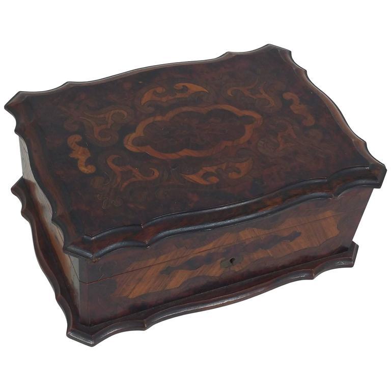 19th Century French Amboyna and Satinwood Jewelry Box