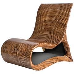 Modern Wooden Altoum Chair in Dark Finish Inspired by Op Art 2014