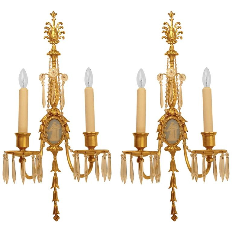 Gilt Bronze and Wedgwood Jasperware Sconces in the Style of Robert Adam