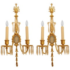 Gilt Bronze and Wedgwood Jasperware Sconces in the Style of Robert Adam