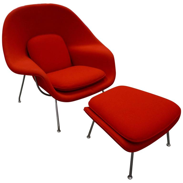 "Eero Saarinen ""Womb"" Lounge Chair and Ottoman 1"