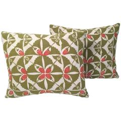 Two Hand Block Printed Strawberry Patch Pillows by the Folly Cove Designers