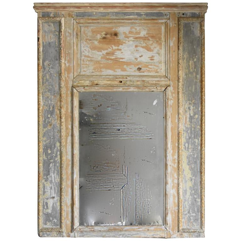 19th Century French Trumeau Mirror That's Distressed Painted Pine and Old Glass