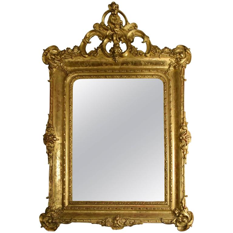 19th Century Italian Carved Venetian Gold Gilt Mirror with Original Mercury Gla