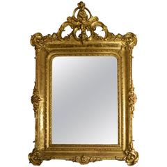 19th Century Italian Carved Venetian Gold Gilt Mirror with Original Mercury Gla