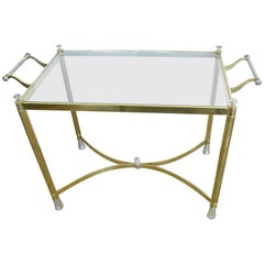 Vintage 1970s Italian Brass and Silver Plated Table or Bar Cart