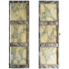 Late 18th Century Italian Faux Marble and Silver Leaf Doors