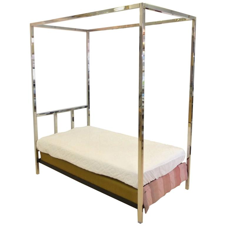 Pace Collection Chrome Four Poster Canopy Single Twin Bed