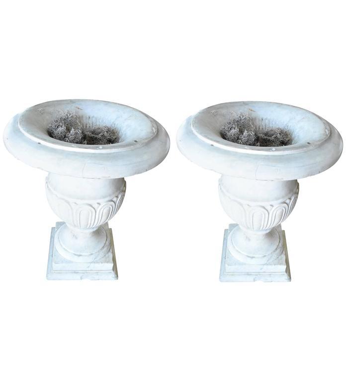 Italian 19th Century Carrara Marble Urns For Sale
