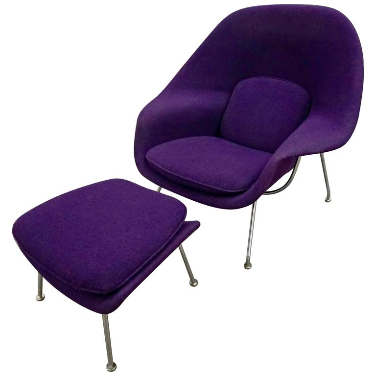 "Eero Saarinen ""Womb"" Lounge Chair and Ottoman For Sale"